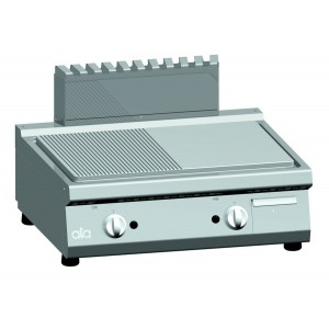 Bakplaat (ribbel/glad) op gas ATA dubbel tafelmodel