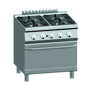 Gasfornuis ATA 4-pits + gasoven 2/1 GN (power branders)