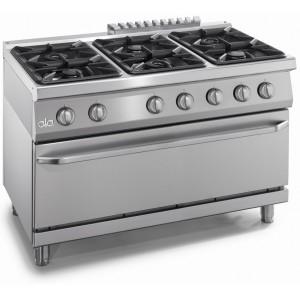 Kooktafel ATA 6-pits + gasoven 2/1 GN + deur (power branders)