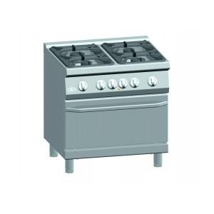 Gasfornuis ATA 4-pits + elektrische oven 2/1 GN