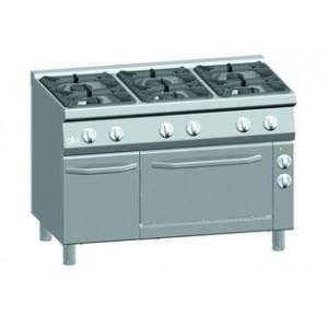 Gasfornuis ATA 6-pits + elektrische oven 1/1 GN + deur