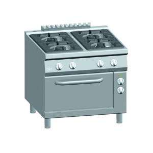 Gasfornuis ATA 4-pits met elektrische oven 2/1 GN