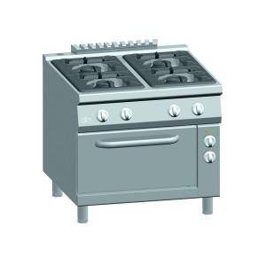 Gasfornuis ATA 4-pits (pb) + elektrische oven 2/1 GN