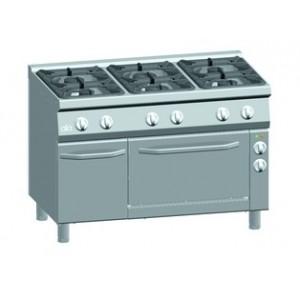 Gasfornuis ATA 6-pits + elektrische oven 1/1 GN + deur (power branders)