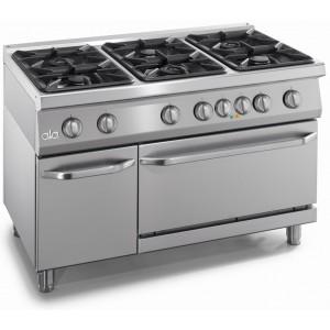 Gasfornuis ATA 6-pits + elektrische oven 2/1 GN + deur
